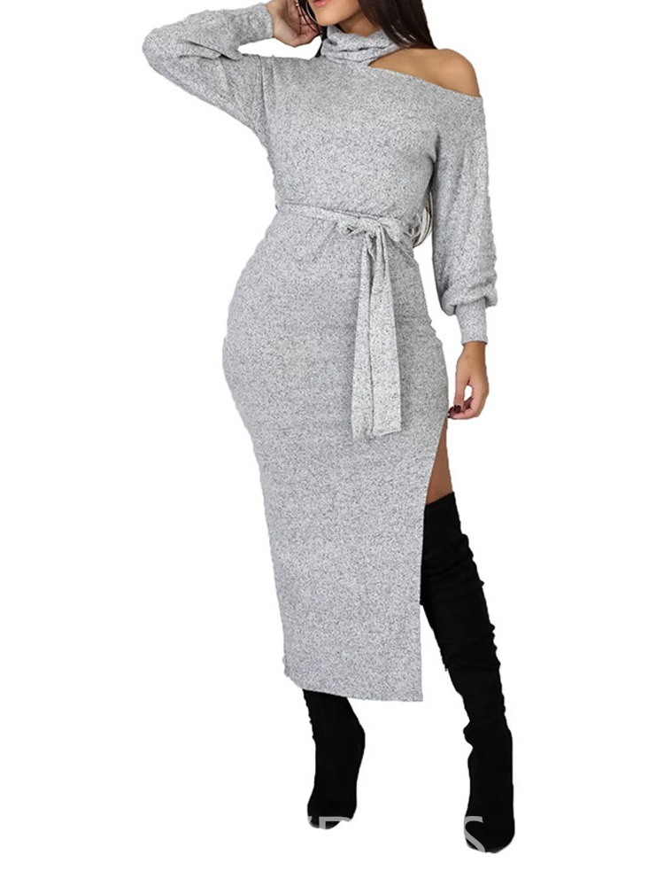 Ericdress Lace-Up Long Sleeve Mid-Calf Mid Waist Bodycon Dress