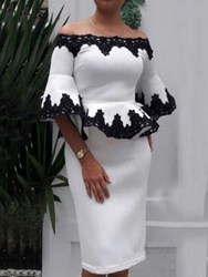Ericdress Patchwork Elegant Bodycon Off Shoulder Two Piece Sets фото