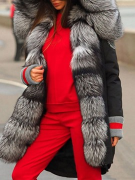 Ericdress Faux Fur Patchwork Thick Long Women's Cotton Padded Jacket