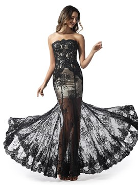 Ericdress Strapless Lace Mermaid Black Prom Dress