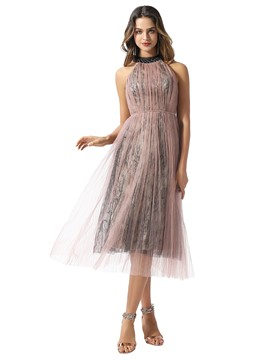 Ericdress Tea-Length Sleeveless A-Line Lace Cocktail Dress 2020