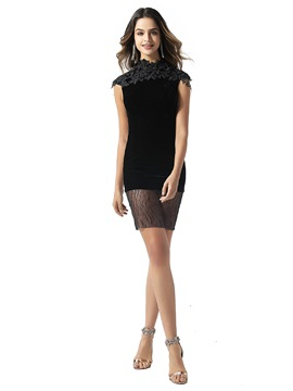 Ericdress High Neck Lace Column Black Cocktail Dress