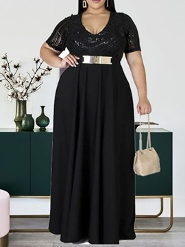 Ericdress Plus Size Sequins Short Sleeve V-Neck Plus Size Regular Dress