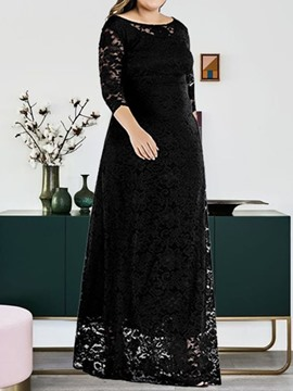 Ericdress Plus Size Three-Quarter Sleeve Hollow Floor-Length Regular Floral Dress