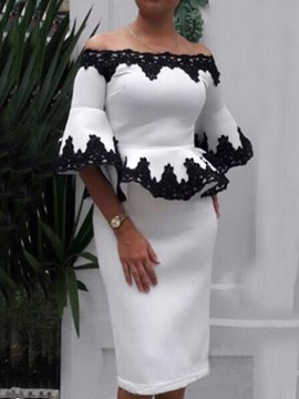 Ericdress Patchwork Elegant Bodycon Off Shoulder Two Piece Sets