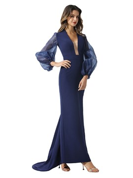 Ericdress Floor-Length Long Sleeves Sheath Evening Dress 2020