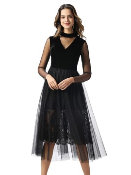 ericdress high neck tea-long sleeves a-line prom dress