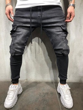 Ericdress Color Block Pocketed Casual Lace-Up Style Men's Jeans