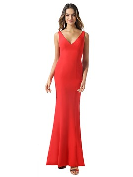 Ericdress Hollow Sleeveless V-Neck Sheath Evening Dress 2020