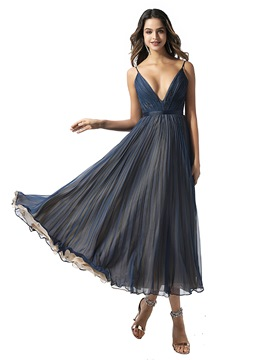 Ericdress Spaghetti Straps A-Line Tea-Length Prom Dress 2020