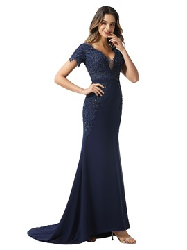 Ericdress V-Neck Beading Floor-Length Trumpet/Mermaid Formal Dress 2020