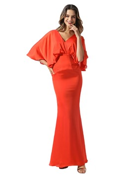 Ericdress V-Neck Sheath/Column Half Sleeves Floor-Length Formal Dress 2020