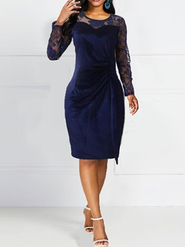 Ericdress Embroidery Mid-Calf Long Sleeve Regular Pullover Dress