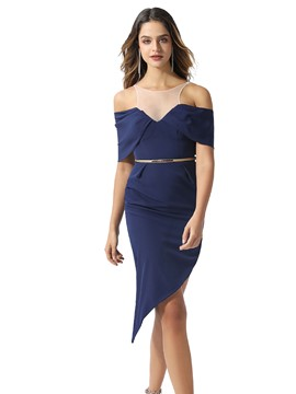 Ericdress Scoop Sheath Asymmetry Cocktail Dress 2020