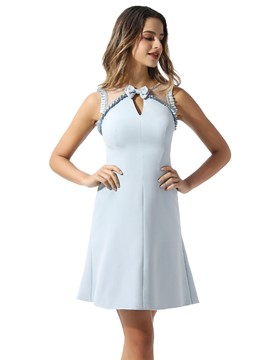 Ericdress Sheath Bowknot Straps Cocktail Dress 2020