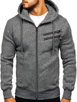 Ericdress Plain Color Pocketed Artificial Fleece Men's Casual Hoodies