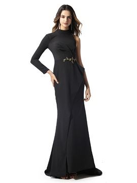 Ericdress Black Mermaid Pick-Ups Evening Dress 2020