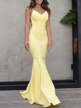 Ericdress Floor-Length Sleeveless Mermaid Evening Dress 2020
