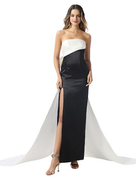 Ericdress Watteau Sleeveless Floor-Length Sheath/Column Evening Dress 2020
