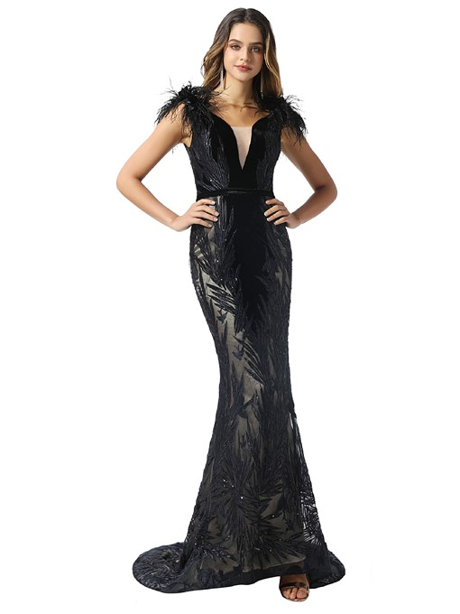 Ericdress Feather V-Neck Mermaid Balck Evening Dress