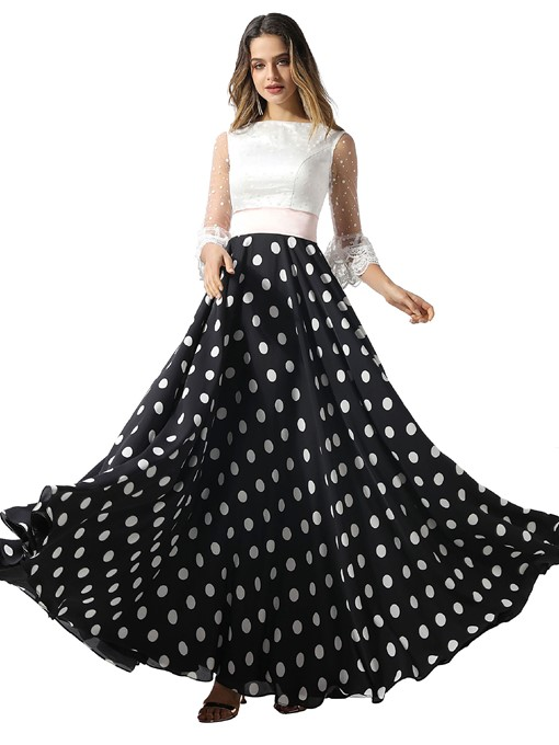 Ericdress Half Sleeves A-Line Floor-Length Print Prom Dress