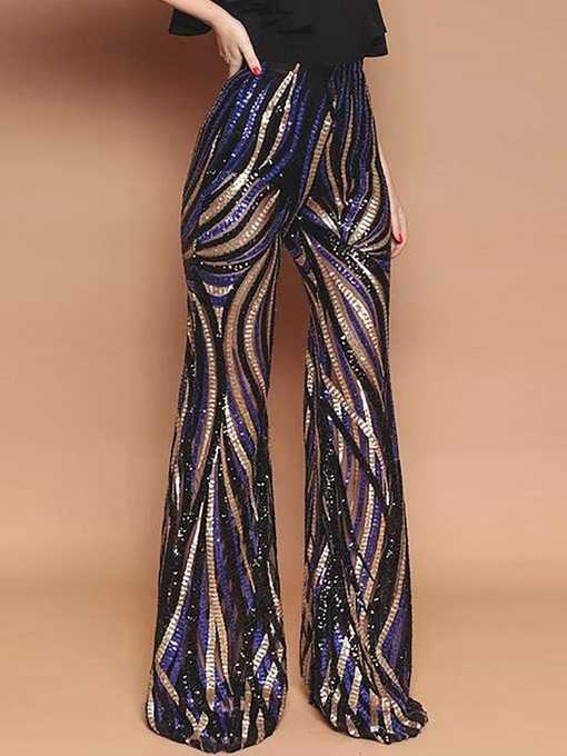 Ericdress Slim Sequin Bellbottoms Full Length Casual Pants