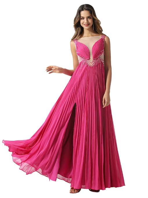 Ericdress Beading Sleeveless A-Line Bateau Prom Dress