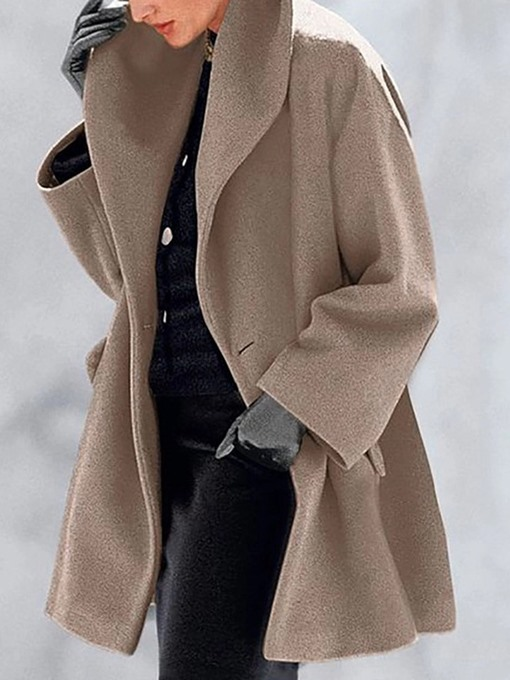 Ericdress Loose Single-Breasted Women's Mid-Length Overcoat