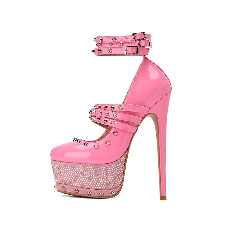 Ericdress Round Toe Beads Buckle Ultra-High Heel Women's Pumps
