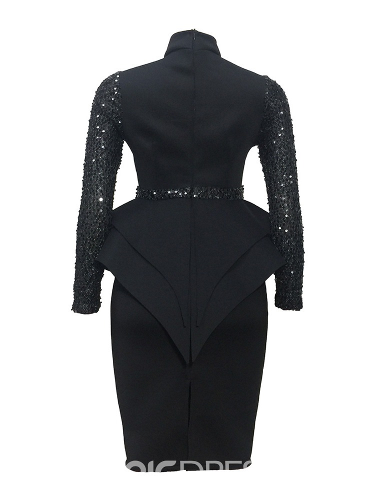 ericdress falbala col montant longueur pull robe taille haute pull