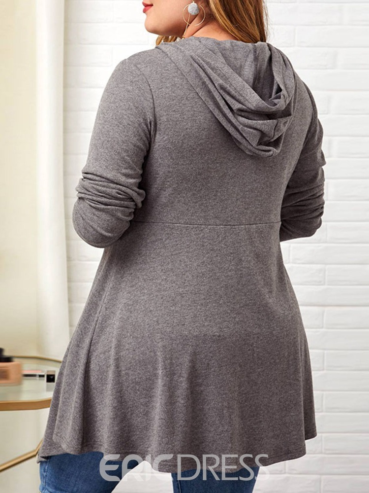 Ericdress Plus Size Button Thin Long Sleeve Hooded Women's Sweater