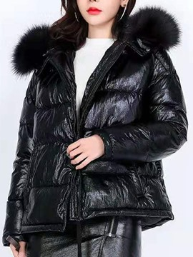 Ericdress Thick Straight Fur collar Women's Cotton Padded Jacket