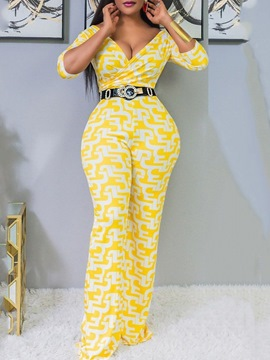 Ericdress African Fashion Full Length Casual Bellbottoms Slim Jumpsuit