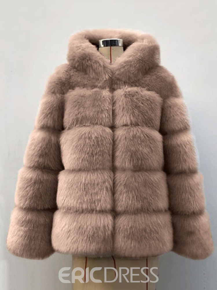 Ericdress Hooded Plain Mid-Length Thick Loose Women's Faux Fur Overcoat