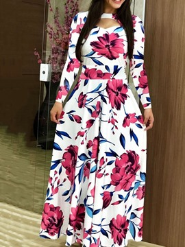 Ericdress Round Neck Print Floor-Length Pullover Mid Waist Dress