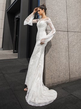 Ericdress Long Sleeves Floor-Length Court Sheath/Column Hall Wedding Dress 2020