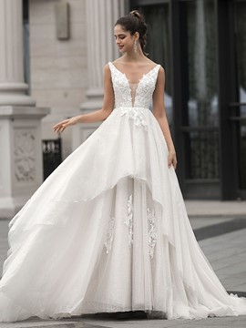 Ericdress Floor-Length Court Sleeveless A-Line Hall Wedding Dress 2020