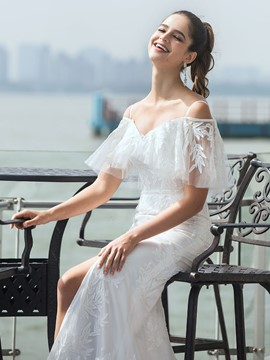 Ericdress Spaghetti Straps Garden/Outdoor Wedding Dress 2020
