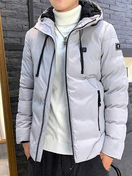 Ericdress Zipper Hooded Plain Casual Style Men's Down Jacket