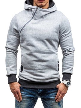 Ericdress Artificial Fleece Color Block Zipper Style Men's Hoodies