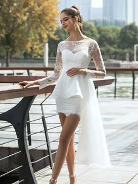 Ericdress Bateau Long Sleeves Asymmetry Button Beach Wedding Dress 2020