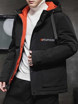Ericdress Hooded Zipper Color Block Casual Men's Down Jacket