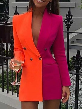 ericdress blazer casual de manga larga de doble botonadura color block