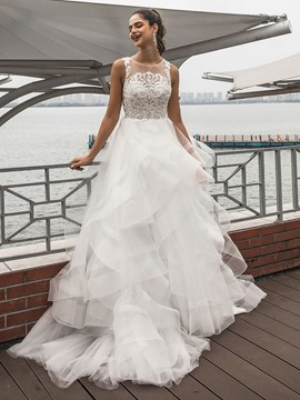 Ericdress Appliques Scoop Court Train Wedding Dress 2020