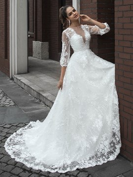 Ericdress Button 3/4 Length Sleeves Floor-Length Court Hall Wedding Dress 2020