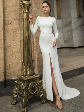 Ericdress Trumpet/Mermaid Appliques Floor-Length Bateau Hall Wedding Dress 2020