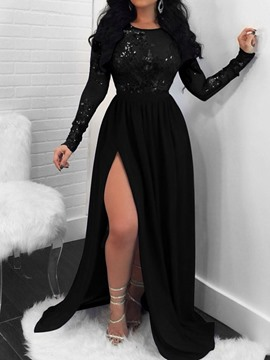 Ericdress Floor-Length Sequins Long Sleeve Pullover Plain Dress