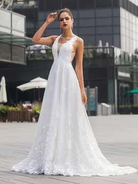 Ericdress V-Neck A-Line Court Appliques Hall Wedding Dress 2020