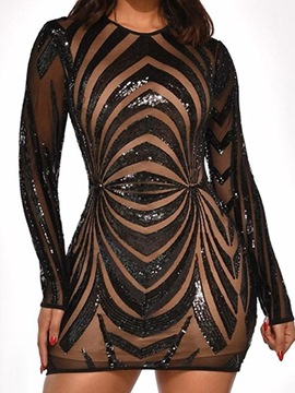 Ericdress Long Sleeve Sequins Above Knee Spring Sexy Dress
