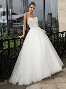 Ericdress Sleeveless Sweetheart Appliques Hall Wedding Dress 2020